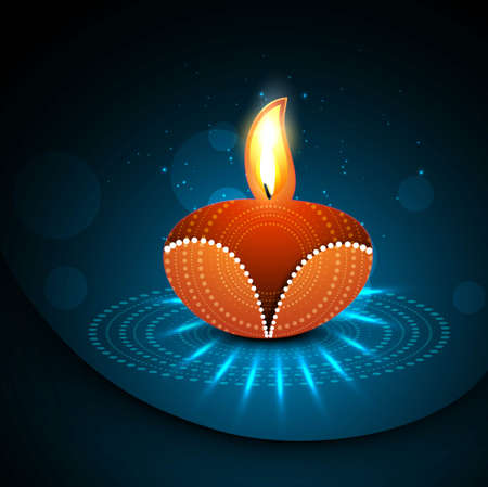 Happy diwali diya celebration shiny colorful hindu festival vector illustration Vector