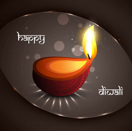 Happy diwali festival glowing diya background vector Vector