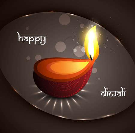 Happy diwali festival glowing diya background vector Stock Vector - 18435887