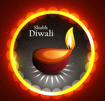 Happy diwali beautiful circle illuminating diya background  Vector