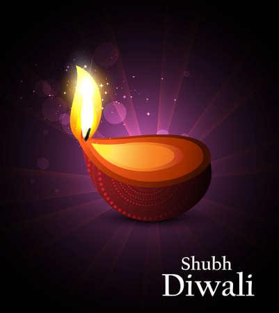 Beautiful happy diwali diya bright colorful hindu festival vector background Stock Vector - 18435898