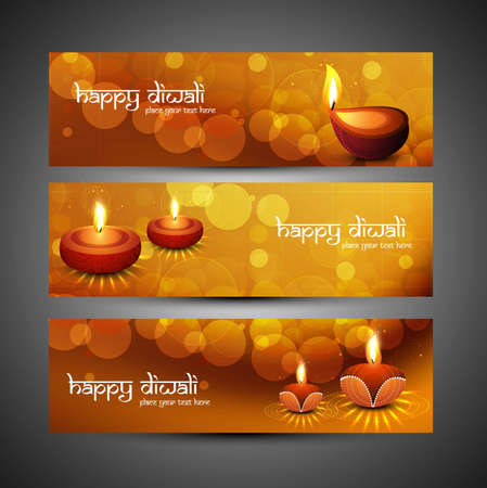 happy diwali stylish bright colorful set of headers vector Vector