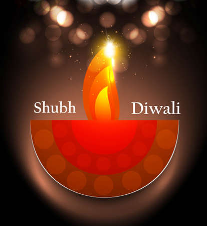 Beautiful happy diwali diya artwork colorful hindu festival vector Vector