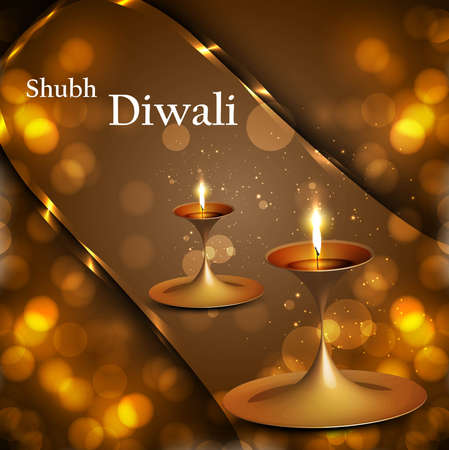 Happy diwali diya celebration shiny colorful circle background vector Stock Vector - 18436048