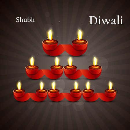 Happy diwali diya celebration shiny colorful hindu festival vector background Stock Vector - 18436052