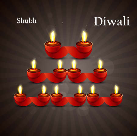 Happy diwali diya celebration shiny colorful hindu festival vector background Stock Vector - 18436052