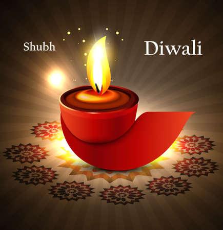 happy diwali diya greeting card background vector illustration Stock Vector - 18436047