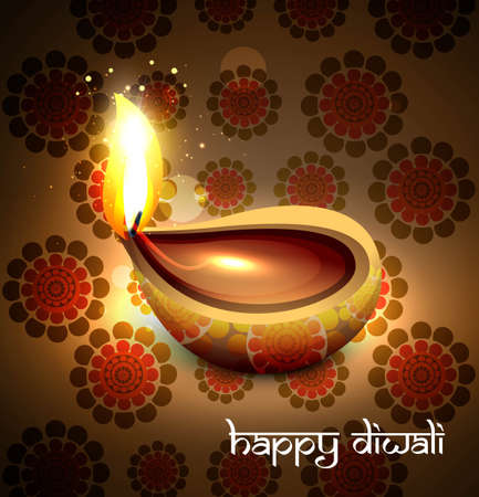 Beautiful hindu diwali festival background  illustration Vector