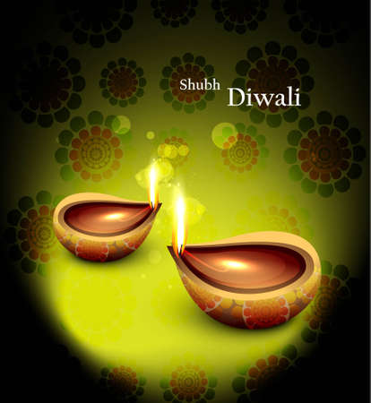 Happy diwali beautiful  glowing diya background  Vector