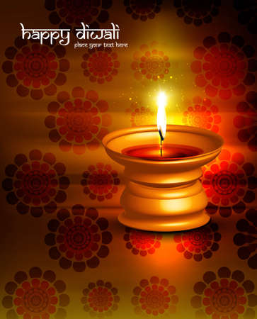 Beautiful diwali diya lamp reflection colorful red background Stock Vector - 18458601