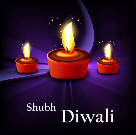 Happy diwali shiny diya hindu festival wave Stock Vector - 18458600