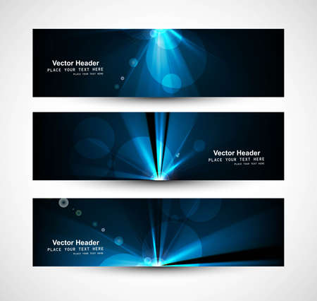 abstract bright rays colorful header wave set Stock Vector - 18458614