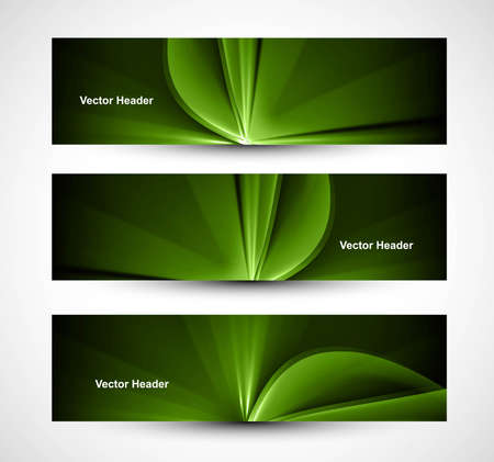abstract bright rays colorful green header wave set  Stock Vector - 18458594