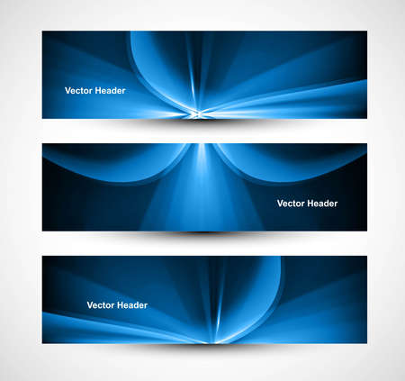 abstract bright rays colorful blue set of three header wave  Stock Vector - 18458615