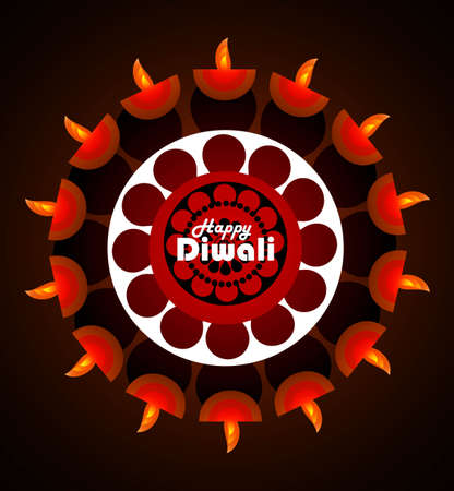 Beautiful happy diwali diya bright colorful circle background  Vector