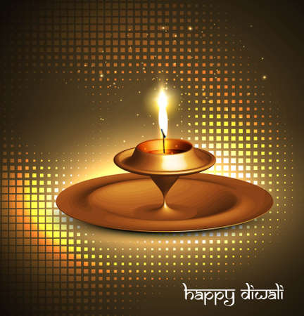 Happy diwali beautiful glowing diya halftone vector design Vector