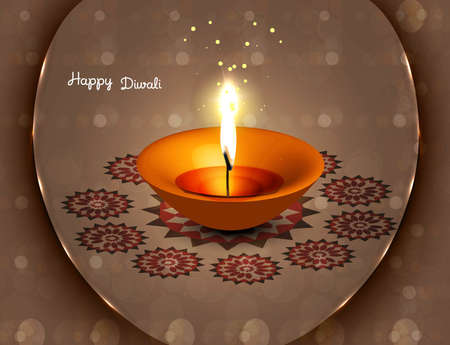 an oil lamp: hermosa vector diwali diya fantástico diseño colorido