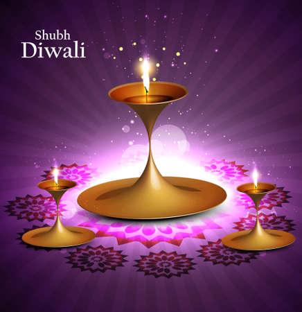 diwali diya  beautiful vector artistic colorful background Stock Vector - 18499612