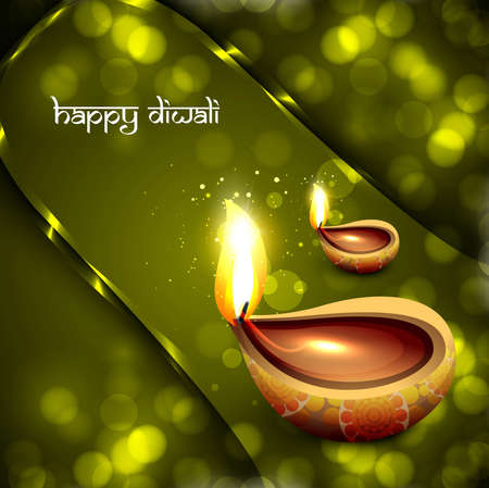 Happy diwali diya celebration artistic green background vector illustration Vector