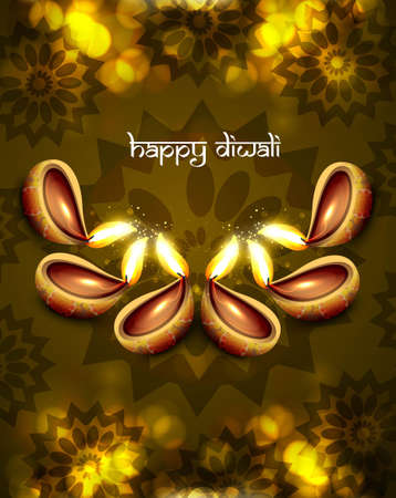 beautiful diwali diya background vector illustration Vector
