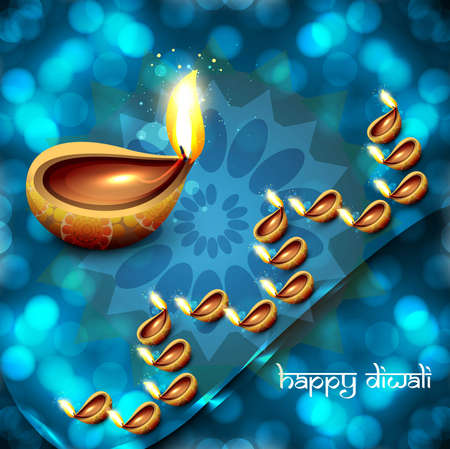 Happy diwali diya hindu festival blue colorful background