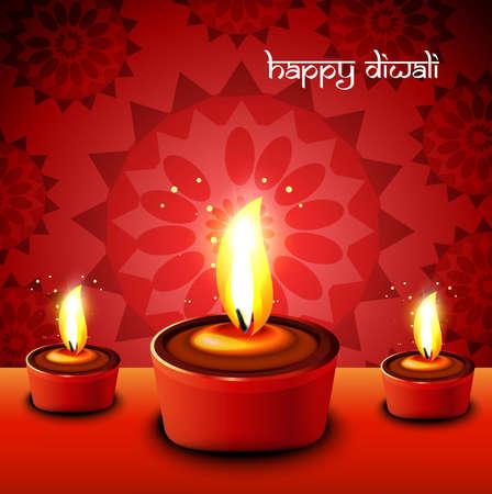 Happy diwali diya artistic hindu festival red background vector Stock Vector - 18499620