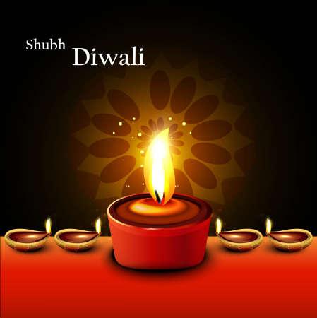 Happy diwali diya artistic hindu festival background  Vector