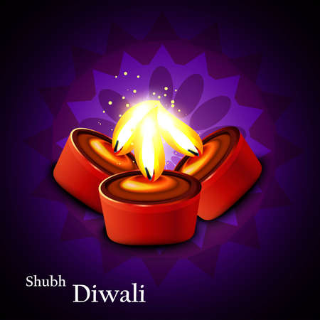 Beautifu Diwalil illuminating diya bright colorful background  Vector