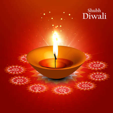 happy diwali diya greeting card on red background vector  Vector