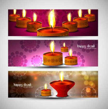 happy diwali bright colorful set of headers vector design Vector