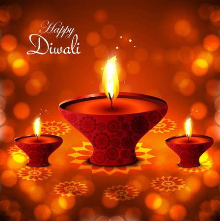 Happy diwali diya hindu festival vector red shiny background Vector