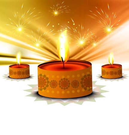 happy diwali beautiful card background illustration Illustration
