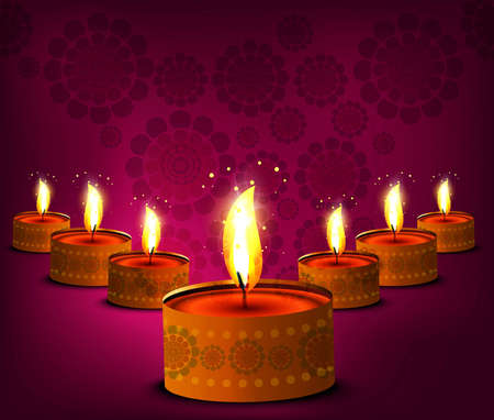 Happy diwali beautiful illuminating Diya vector design Vector