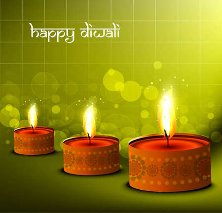 happy diwali beautiful card green colorful  background Vector