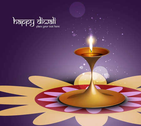 Happy diwali colorful beautiful illuminating diya background Vector