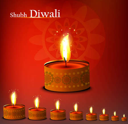 Beautiful happy diwali diya bright colorful background illustration Stock Vector - 18500135