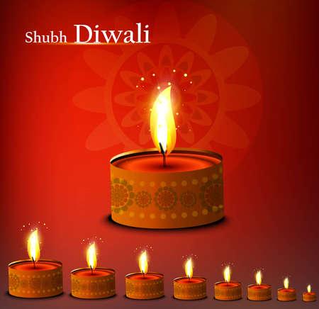 Beautiful happy diwali diya bright colorful background illustration Stock Vector - 18500135
