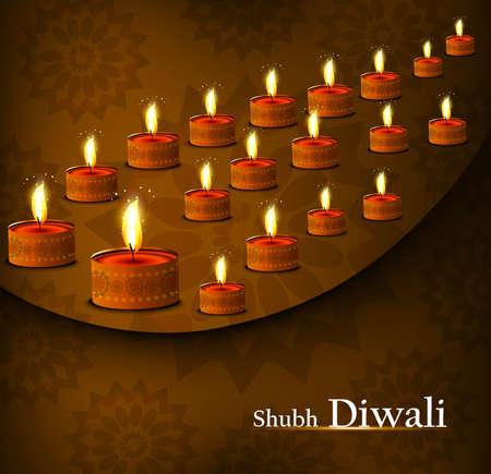 Beautiful happy diwali diya set colorful background Stock Vector - 18500131