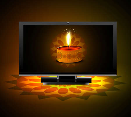 Beautiful happy diwali led tv screen celebration colorful background vector Stock Vector - 18500111