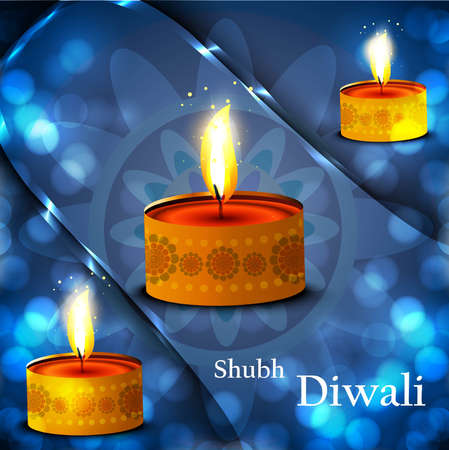 Happy diwali diya celebration shiny blue colorful background vector Vector