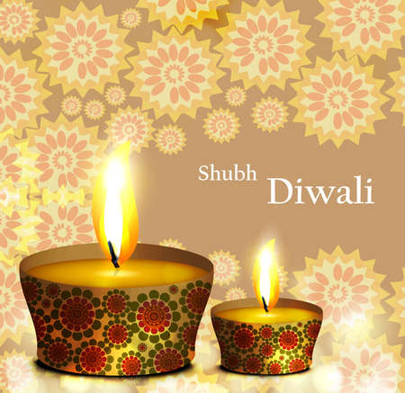 Happy diwali diya celebration pattern colorful background Vector