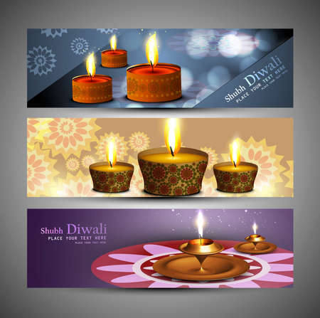 happy diwali stylish bright colorful set of headers design Vector