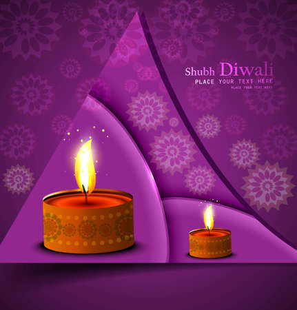Happy diwali illuminating colorful diya stylish wave design Vector