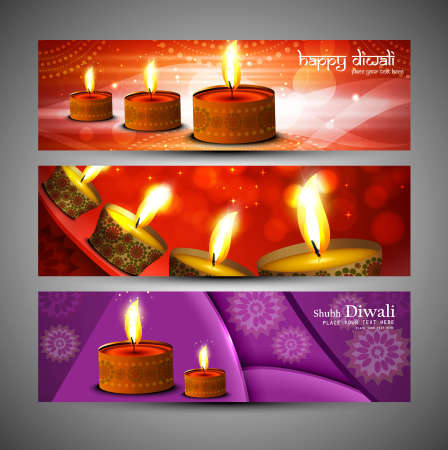happy diwali stylish bright colorful set of header background vector Vector