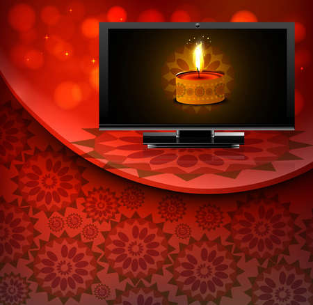 Beautiful happy diwali led tv screen celebration red colorful wave background  Vector