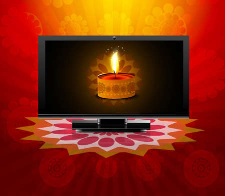 Beautiful happy diwali led tv screen celebration reflection red colorful vector illustration Vector