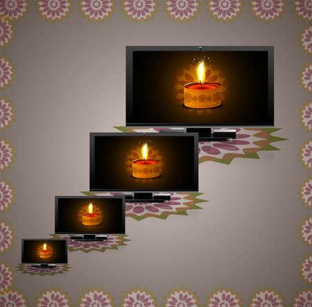 Beautiful happy diwali led tv screen set reflectio colorful vector design Stock Vector - 18548416