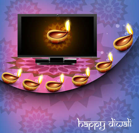 Beautiful happy diwali led tv screen celebration reflection colorful wave vector Vector