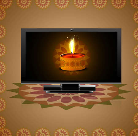 Beautiful happy diwali led tv screen celebration reflection background Vector