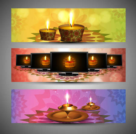 happy diwali stylish bright colorful set of header background vector Stock Vector - 18548428